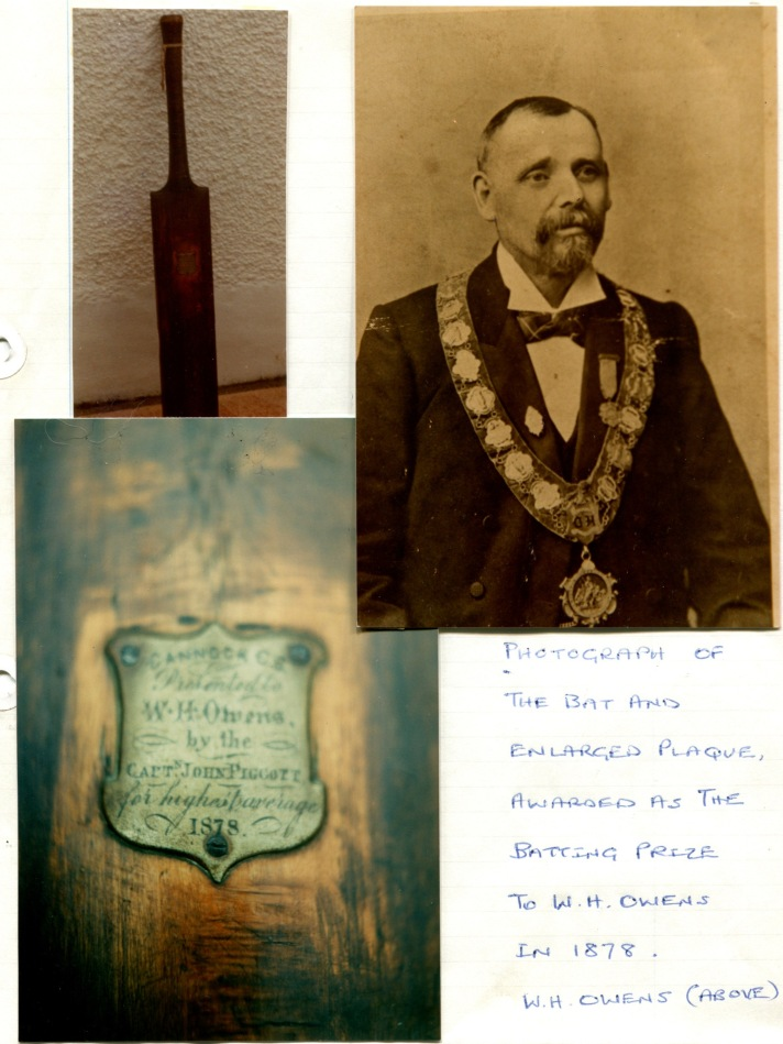 1878 Photo Bat & Plaque awarded to WH Owens